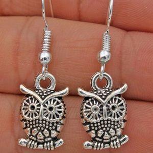 Boho Night Owl Dangle Drop Hook Earrings